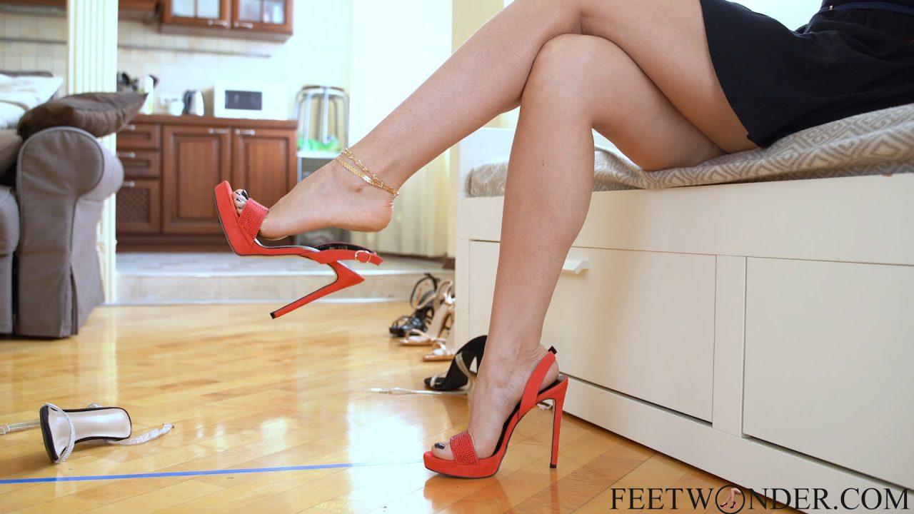 dangling feet with high heels