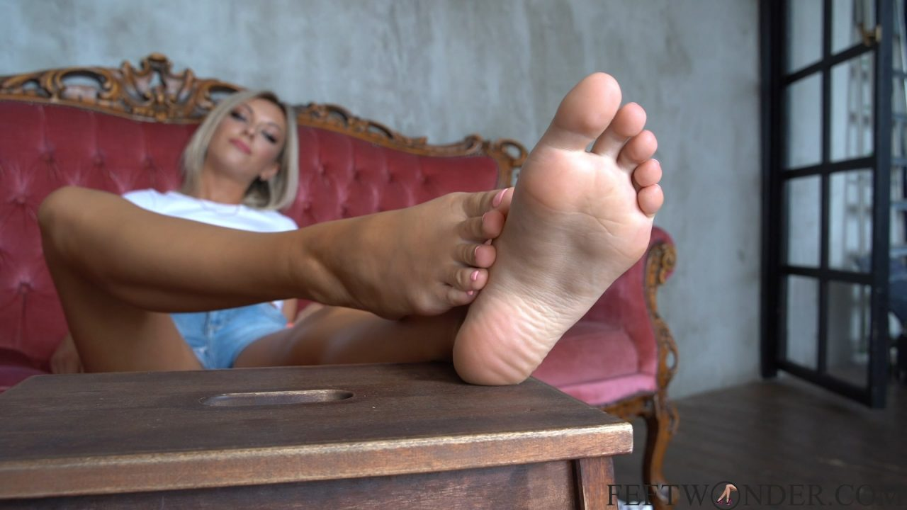 blond girl with sexy soles