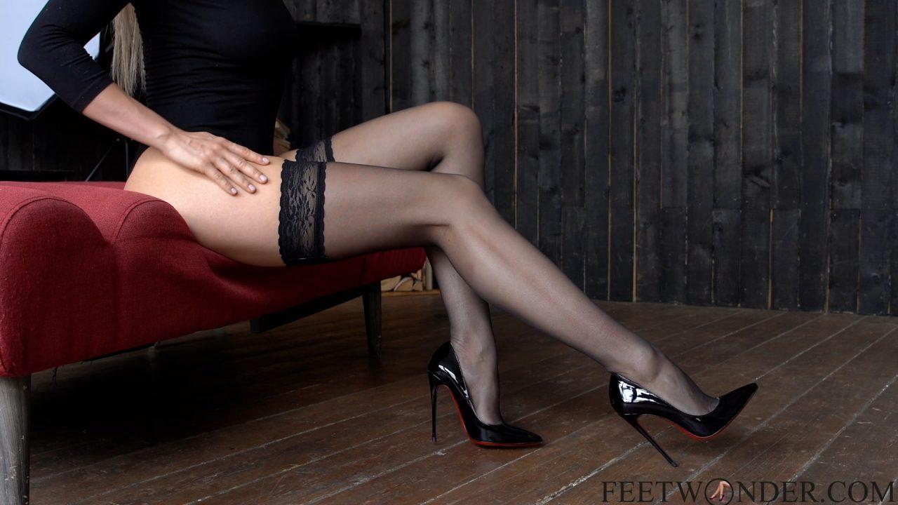 long legs in black nylon