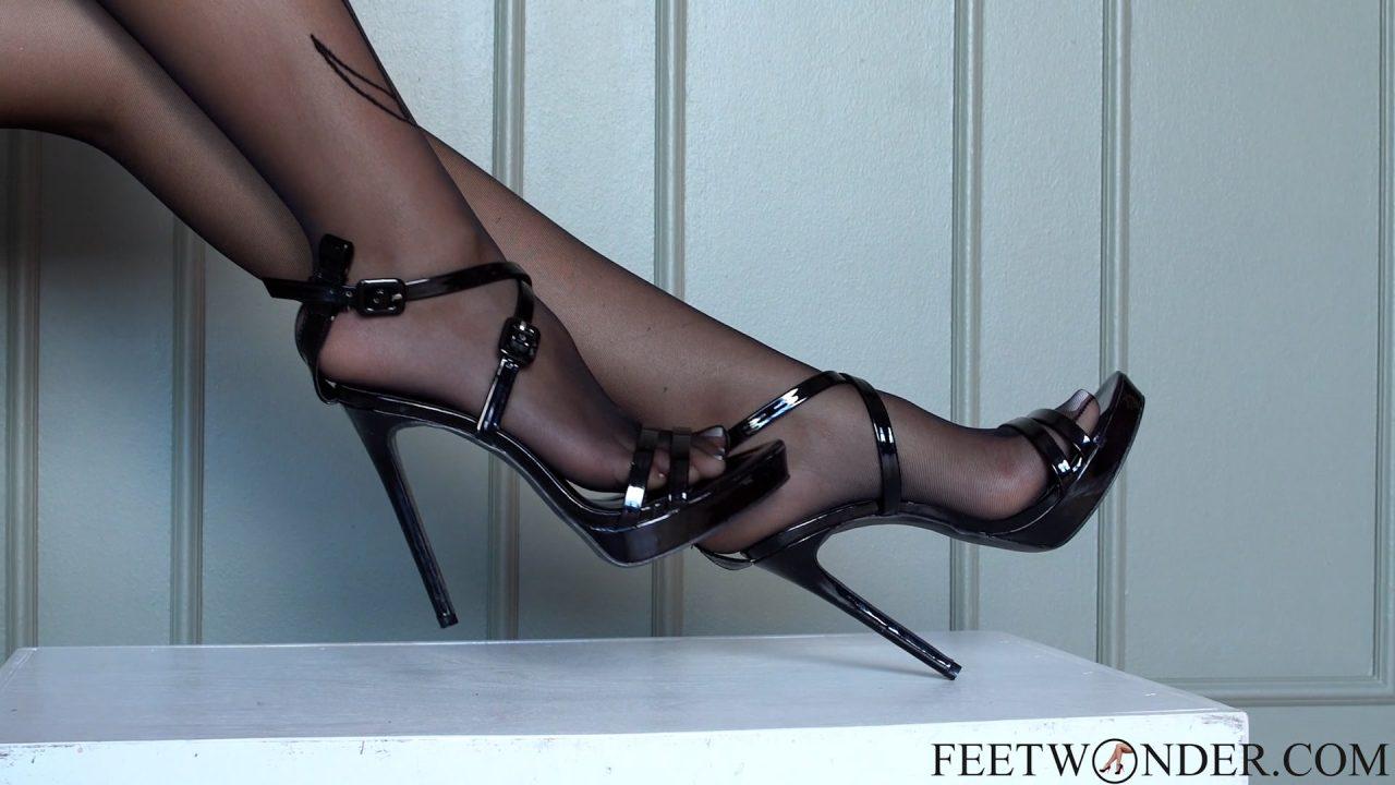 feet in nylon black pantyhose