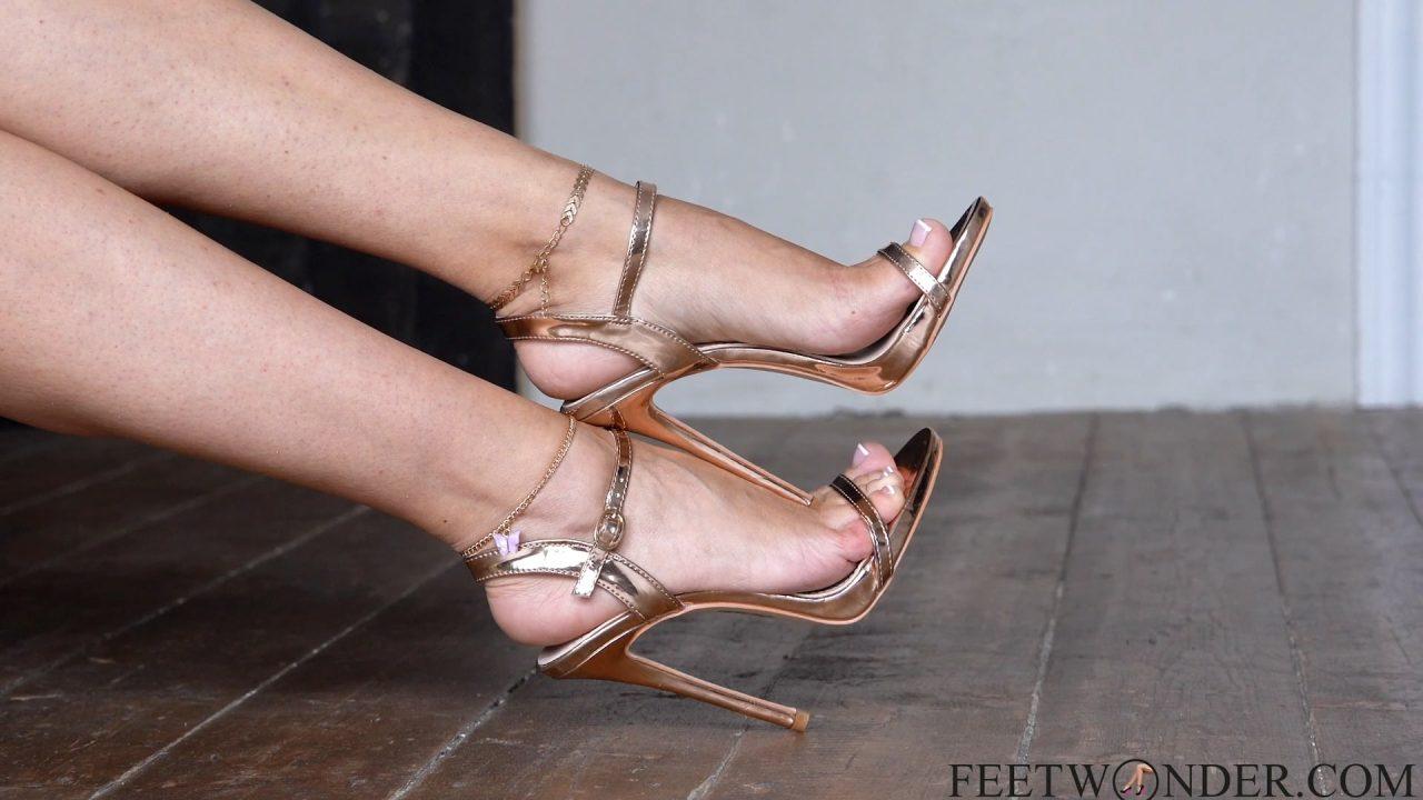 high heeled sandals and feet