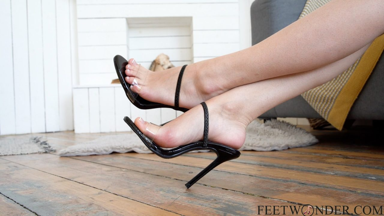 female feet in high heels closeup